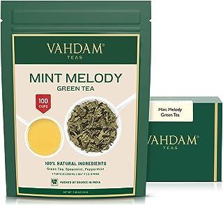 VAHDAM, Minze Grüner Tee Loose Leaf 100 Tassen   REICHE ANTI-OXIDANTEN   Pfefferminztee mit reinen grünen Teeblättern ERFRISCHENDER MINTTEE   200gr