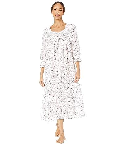 Eileen West Cotton Lawn Woven Long Sleeve Ballet Nightgown (White Ground/Multi Scroll) Women