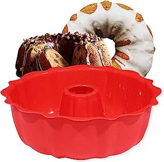 European Grade Silicone Cake Mold, Aokinle Non Stick Bakeware Fluted Tube Cake Pan for Jello,Gelatin, Silicone Molds for C...