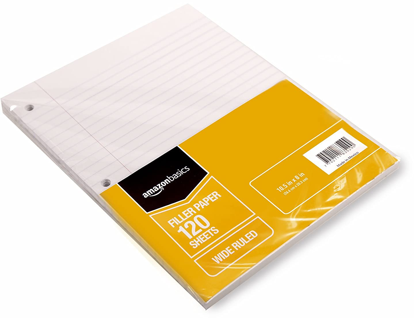 AmazonBasics Wide Ruled Loose Leaf Filler Paper, 120 Sheet, 10.5 x 8 Inch, 6-Pack