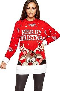 92aef4cf8e781 WearAll - Femmes Tricoté Joyeux Noël Noël Flocon De Neige Dames Renne Pom  Cavalier - 42