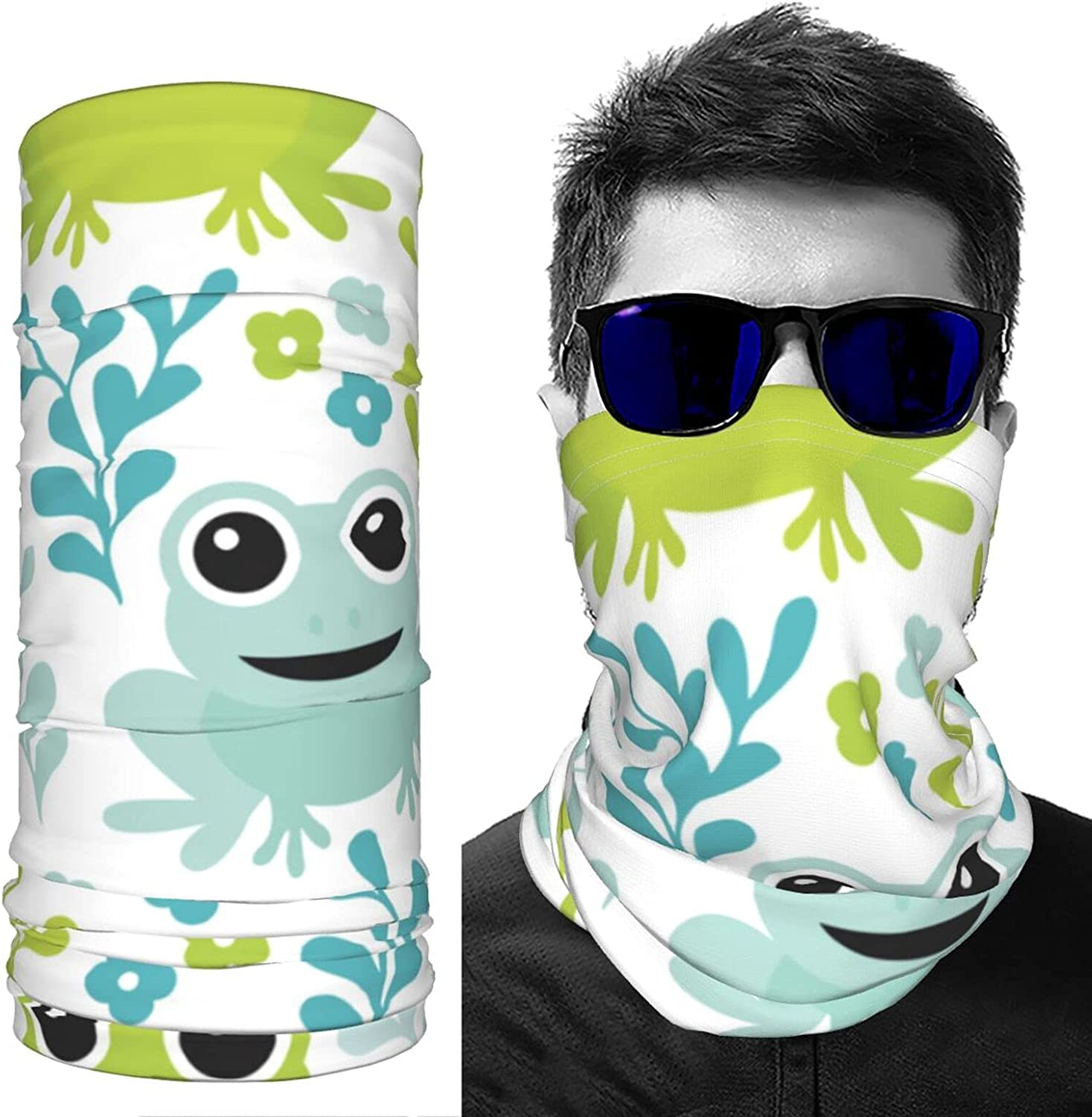 Adorable Kids Frog Woodland Animals Summer Ice Silk Breathable Face Mask Neck Gaiter Scarf Bandanas for Fishing,Hiking,Running,Motorcycle and Daily Wear