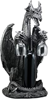 Ebros Large Legendary Smaug Brewery Black Dragon Wine Valet Holder Statue for Wine Or Liquor Bottle and Two Wine Glasses