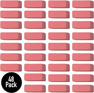 Pink Erasers, Premium Quality Latex Free Eraser - Standard Size Perfect for School, Office - (48 Pack)