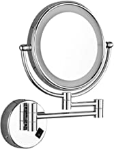 Makeup Mirror Wall-Mounted Lighted Makeup Mirror 8-inch Bathroom Vanity Mirror Wall-Mounted Folding Magnifying Glass Metal...