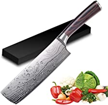 Nakiri Knife - UniqueFire Razor Sharp Meat Cleaver 7 inch High Carbon German Stainless Steel Vegetable Kitchen Knife, Multipurpose Japanese Cleaver for Home and Kitchen with Ergonomic Handle