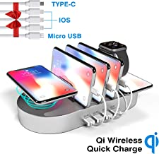 Charging Station for Multiple Devices, DGStore 2 QI Wireless Charging Pad + 4 Pot USB Charger Station Dock, Compatible with iPhone iPad Android Smart Phone Tablet Multi Device(Silver)