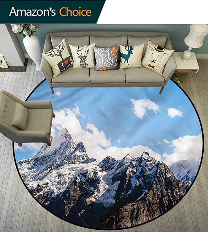 RUGSMAT Mountain Round Kids Rugs Mountain Natural Beauty Foam Mat Living Room Decor Diameter 71