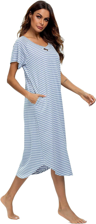 YOZLY Nightgown Womens Cotton Knit Long Sleepwear Soft V Neck Loungewear S-XXL