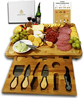 Unique Housewarming Gifts, Men, Women Birthday, Thanksgiving Gift | Extra Large Cheese Plate Board with Hidden Magnetic Drawer holding Cheese Knives, Serving Forks, Markers and Wine Accessories