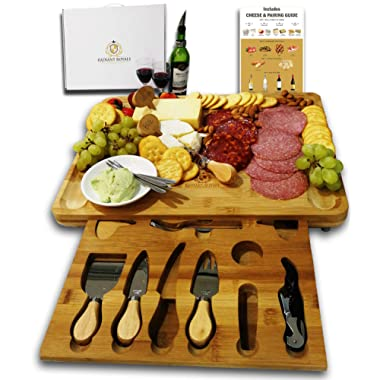 Unique Housewarming Gifts, Men, Women Birthday, Thanksgiving Gift   Extra Large Cheese Plate Board with Hidden Magnetic Drawer holding Cheese Knives, Serving Forks, Markers and Wine Accessories
