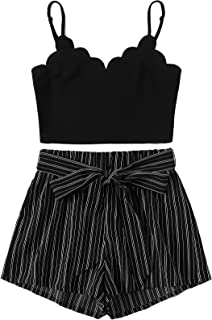 MAKEMECHIC Women's 2 Piece Outfit Summer Striped V Neck...