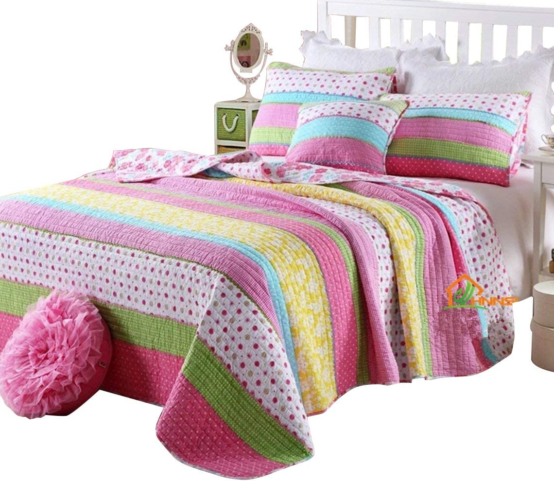 HNNSI Cotton Washington It is very popular Mall Kids Girls Bedspread Quilt 3 Sets Size Queen Pieces