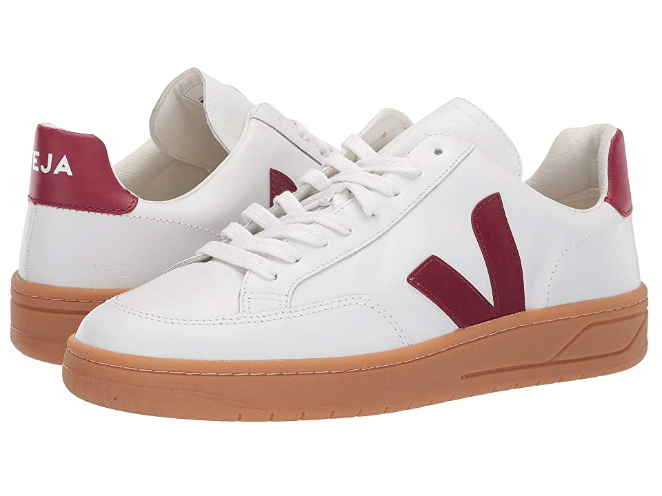 VEJA V-12 (Extra White/Marsala/Natural/Sole Leather) Athletic Shoes