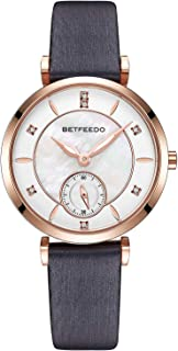 Betfeedo Women's Pearl Shell Dial Watch with Genuine Leather Strap
