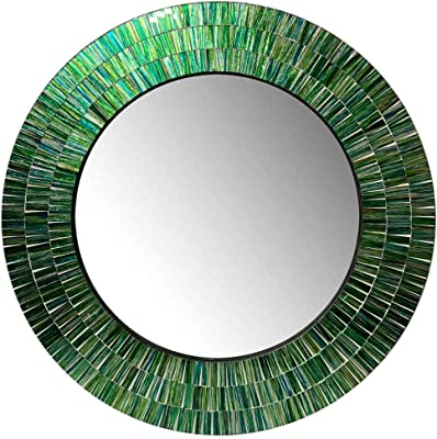 D.K Decor King Presents Handicrafted Round Shape Green Wood and Glass Mosaic Wall Mirror for Bedroom Home Decor | Living Room, Bathroom (Size-24 Inch, Wt- 5 Kg)