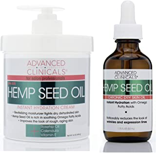 Advanced Clinicals Hemp Seed Oil Set with Cold Pressed Hemp Seed Oil. Hemp Facial oil (1.8oz) and Spa Size Hemp Seed oil c...