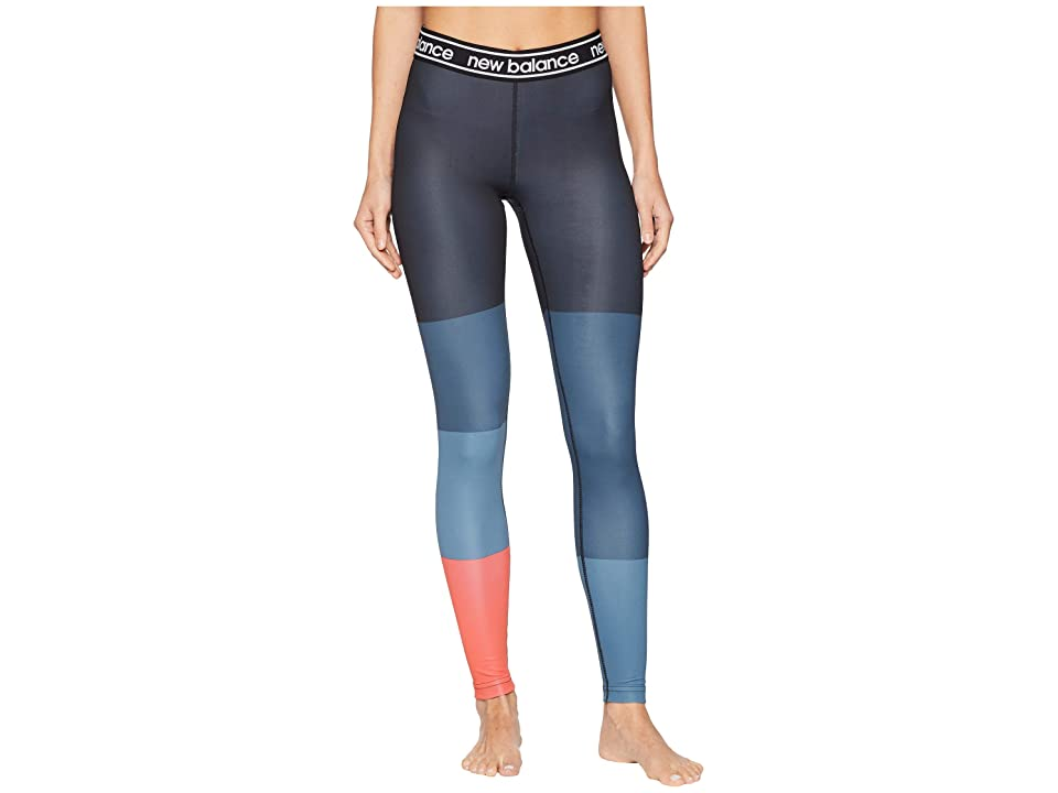 New Balance Printed Accelerate Tights (Flame/Black/Petrol) Women