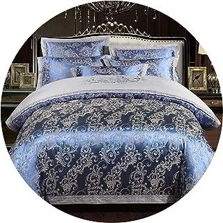 Cotton Flat/Bed sheet Fitted sheet Luxury Satin Jacquard Duvet Cover Queen King Bedding Set Bed set parure de lit ropa de cama,bedding set 11,Queen size 4pcs,Flat sheet style
