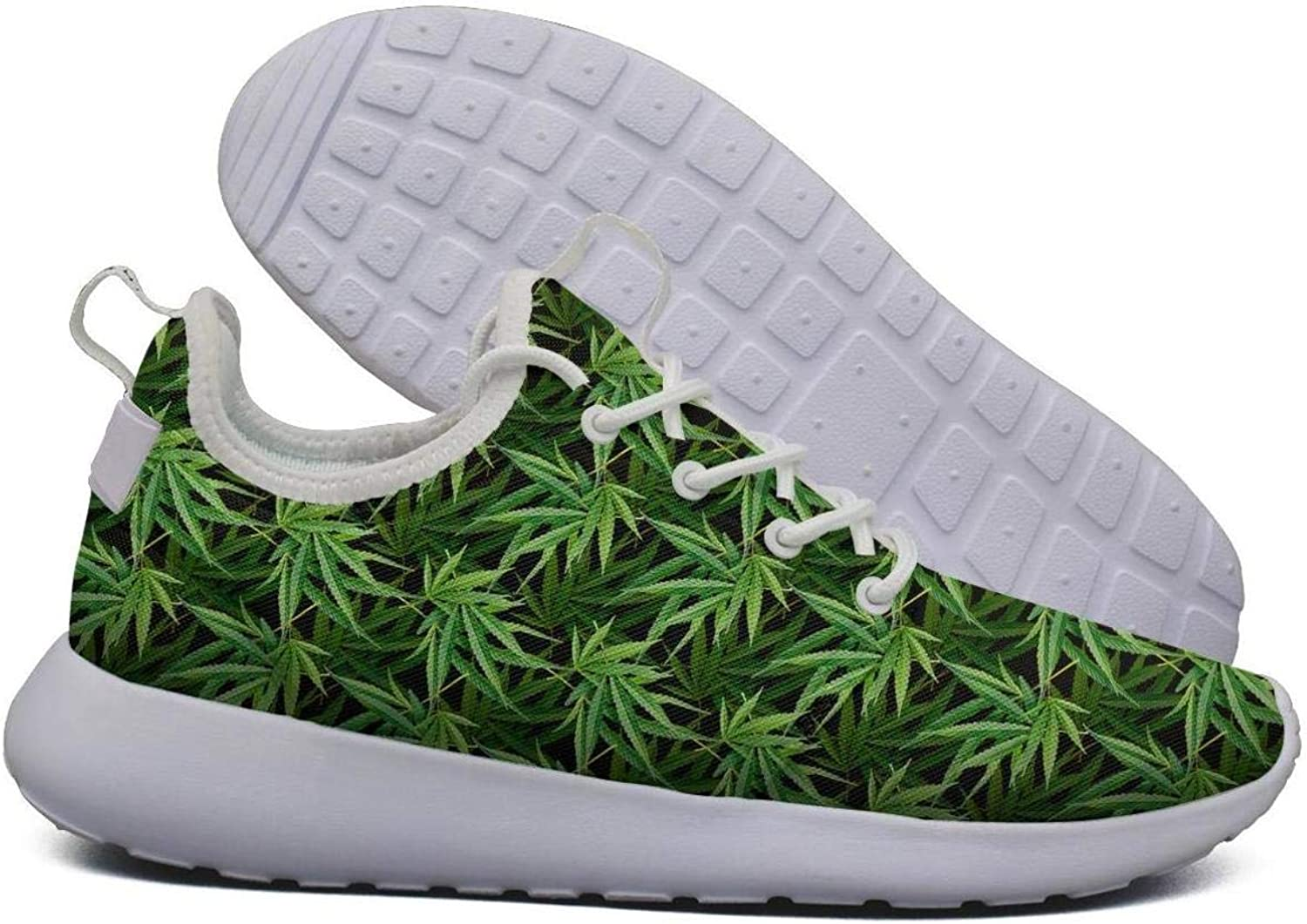 Hoohle Sports Womens Best Cannabis Leaf Green Flex Mesh Roshe 2 Lightweight Breathable Road Running shoes
