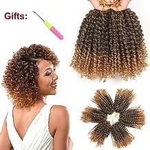 8 Inch Short Marlybob Crochet Hair 6 Bundles/Lot Kinky Curly Crochet Braids Ombre Braiding Hair Synthetic Hair Extension (1B/27#)