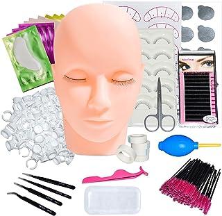False Eyelashes Extension Kit, Professional Lashes Kit with Mannequin Training Head False Eyelashes Extension Practice Set...