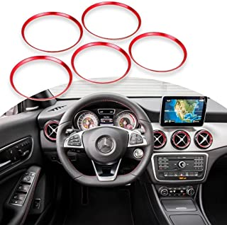 x xotic tech Red Ring Cover Trims Air Vent Outlet for Mercedes Benz CLA GLA Class 2013-18