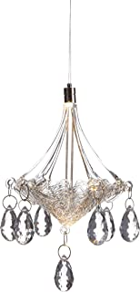 Anvehu Ornaments Hand-Blown Glass Chandelier with LED Lighting Decorative Hanging Ornament for Fall and Christmas Decorations