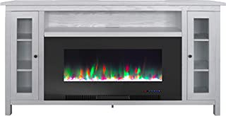Cambridge Somerset 70-in. White TV Stand with Multi-Color LED Flames, Crystal Rock Display, and Remote Control, CAM6938-1WHT Electric Fireplace, Black