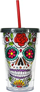 Sugar Skull Cup Tumbler Insulated Travel Mug with Straw Day of the Dead (White, 18 oz)