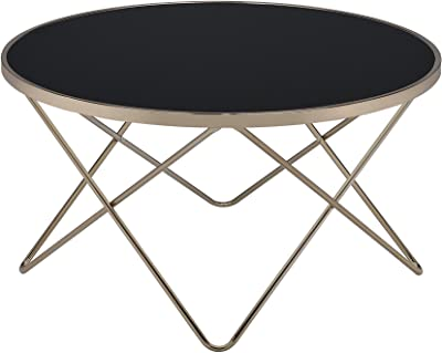ACME Furniture Acme Valora Coffee Table, Black Glass & Champagne, One Size
