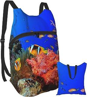 Mochila portátil plegable, mochila de computadora para adultos, color rojo océano coral anti robo, delgada y duradera.