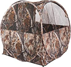Tangkula Hunting Tent with Simulated Tree Camouflage Patterns, Portable Hunting Blind with Three Mesh Window, 1-2 People Waterproof Pop Up Hunting Ground Blind with Backpack