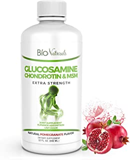 Bio Naturals Liquid Glucosamine Chondroitin MSM Pharmaceutical Grade Supplement with Hyaluronic Acid and Muscle Comfort Bl...