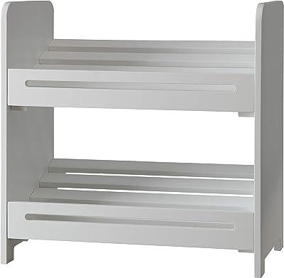 None White Finish 2 Tier Storage Shelf Bookshelf Bookcase Book Rack Kids Bedroom