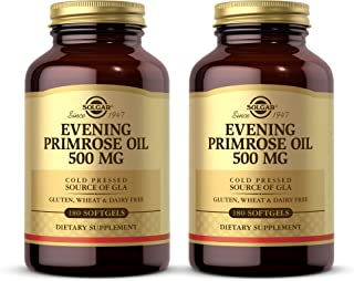 Solgar Evening Primrose Oil 500 mg, 180 Softgels - Pack of 2 - Promotes Healthy Skin & Cardiovascular Health - Nutritional...