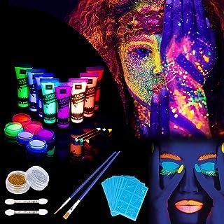 Lictin 8 x Peinture Corporelle,Kit de Peinture fluorescente UV Non Toxique  Neon Pour Lumière