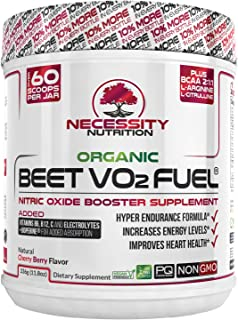 Organic Beet Root Powder V02 Fuel + BCAA Amino Acids 30 Servings   Nitric Oxide Supplement   Super Endurance, Blood Pressure, and Cardiovascular Health   Juice Extracts Paleo No Sugar, Non-GMO