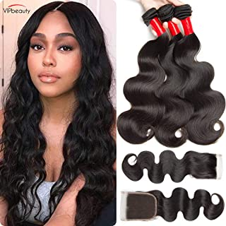Virgin Human Hair 3 Bundles With Free Part Closure 100% Unprocessed Body Wave 10A Huamn Hair Natural Black 95-100g/pc(14 16 18 with 12)