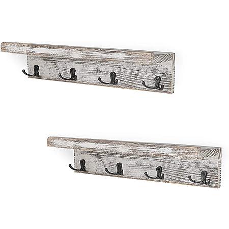 Wood Wall Mounted Shelf Rack Picture Ledge Coat Hooks Rack w// 2//3//4 Alloy Hooks