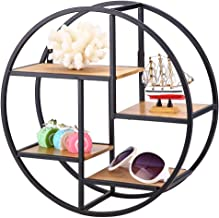 Floating Shelves, Round Wall Mounted Shelf Industrial Style Wood Iron Craft Display Rack Storage Unit for Bedroom, Living Room, Bathroom, Kitchen, Office and More