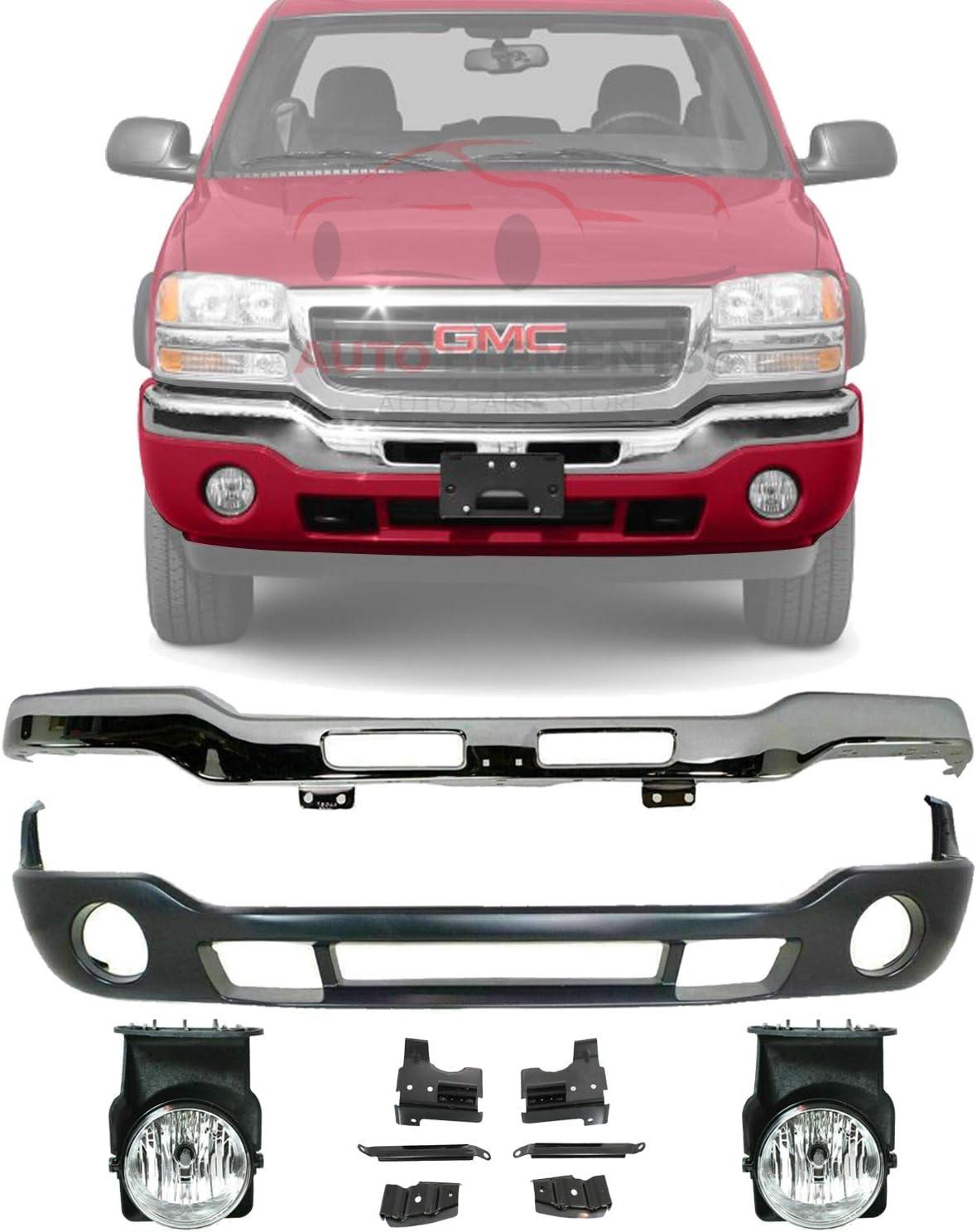 Buy New Front Bumper Chrome With Brackets Lower Valance Primed With Fog Light Holes Fog Light Left Driver Right Passenger Side For 2003 2006 Gmc Sierra 1500 2500hd 3500 Direct