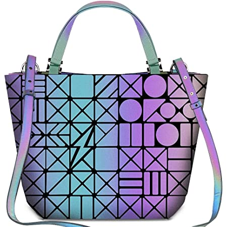 BestoU Damen Handtaschen Gitter Design Geometrische Leuchtende Tasche Schwarz PU-Leder Einzigartige Geldbörsen Frauen Umhängetasche (Leuchtende 3)