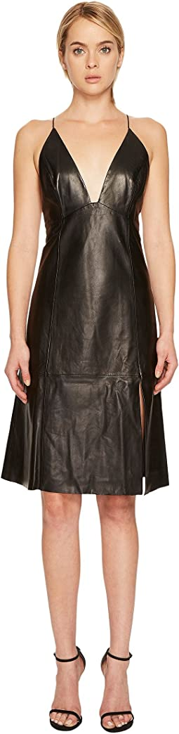 Oria Leather Midi Dress