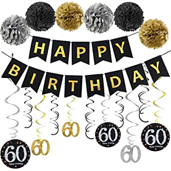 Age 80 Party Supplies Happy Birthday Banners /& 80th Birthday Hanging Swirl Decorations Black and Gold SIMUER 80th Birthday Party Decorations Happy Birthday /& 80 Table Confetti