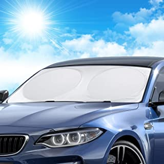 LEWONPO Parasol para Parabrisa, Parasol Coche Delantero, Coche Sol Sombra bloquea los Rayos UV Parasol Plegable para de Coche, Apto a la mayoría de Coches y SUV, 160 x 86cm