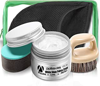 Shoe Polish Cream and Cleaning Kit, White Shoe Polish, White Shoe Cleaner, Shoe Whitener, Appleaves, Best Match with Horsehair Shoe Brush, Shoe Shine Sponge and Glove