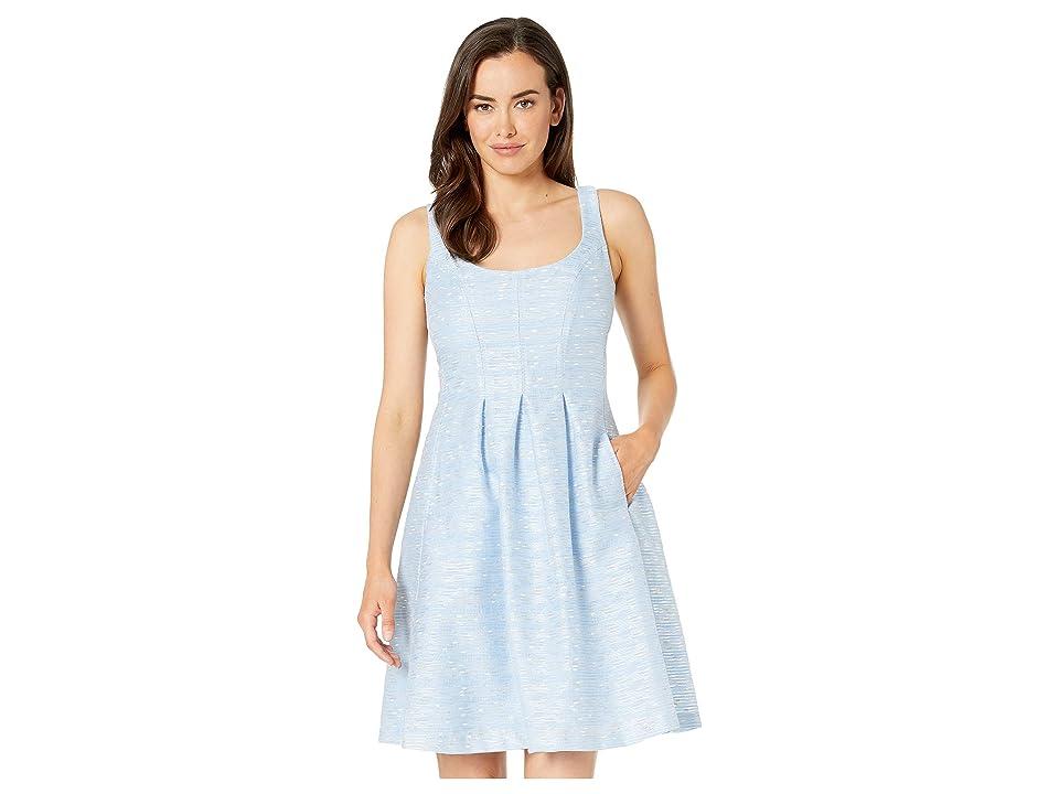 Nine West Burnout Metallic Stripe Dress w/ Pleats (Surf/White) Women