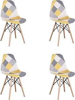GroBKau Juego de 4 Sillas de Comedor Modernas, Tapizadas en Tela de Patchwork, Base de Madera, Ideal para Sala de Estar, Comedor, Cafetería, Sala de Espera, etc. Amarillo