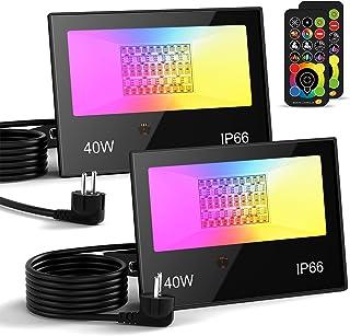 Projecteur LED extérieur 40W 4000LM, Projecteur à changement de couleur RGBW, Équivalent 400W, Lumière d'inondation RVB bl...
